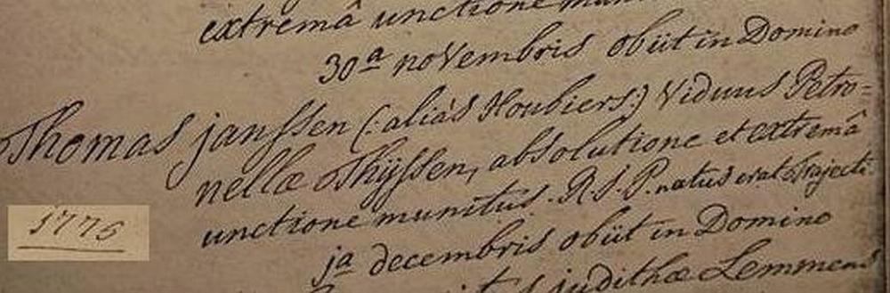 Janssen Gedoopt Houbiers Thomas sr Overlijdensakte 1776.jpg